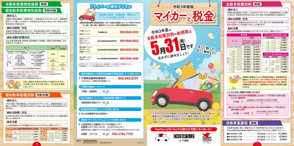 千葉県自動車税チラシ